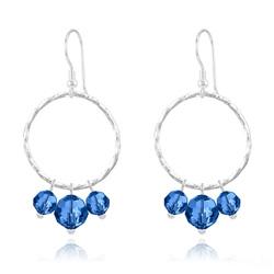Boucles d'Oreilles en Cristal et Argent Boucles d'Oreilles Cercle Torsadé en Argent et Cristal 8mm/6mm Capri Blue
