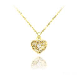 Collier Mini Coeur 10mm en Argent Plaqué Or Jaune et Cristal Gold Patina