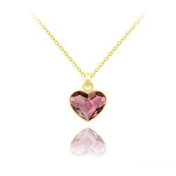 Collier Mini Coeur 10mm en Argent Plaqué Or Jaune et Cristal Antique Pink