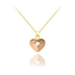 Collier Mini Coeur 10mm en Argent Plaqué Or Jaune et Cristal Rose Gold