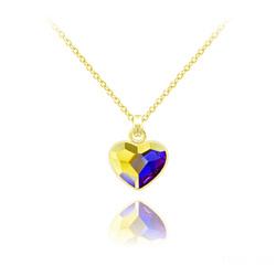 Collier Mini Coeur 10mm en Argent Plaqué Or Jaune et Cristal Aurore Boréale