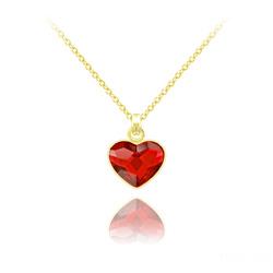 Collier Mini Coeur 10mm en Argent Plaqué Or Jaune et Cristal Rouge Light Siam