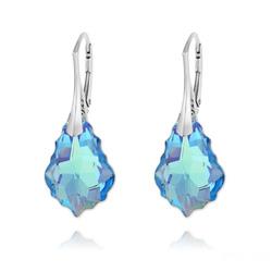 Boucles d'Oreilles en Cristal et Argent Boucles d'Oreilles Baroque 22MM v4 en Argent et Cristal Bleu Aquamarine AB