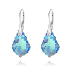 Boucles d'Oreilles Baroque 22MM v4 en Argent et Cristal Bleu Aquamarine AB