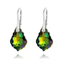 Boucles d'Oreilles en Cristal et Argent Boucles d'Oreilles Baroque 22MM v4 en Argent et Cristal Vitrail Medium