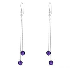 Boucles d'Oreilles en Cristal et Argent Boucles d'Oreilles Longues Cardano en Argent et Cristal Purple Velvet