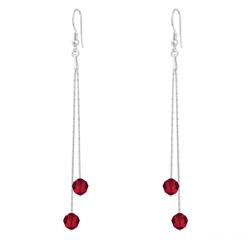 Boucles d'Oreilles Longues Cardano en Argent et Cristal Rouge Light Siam