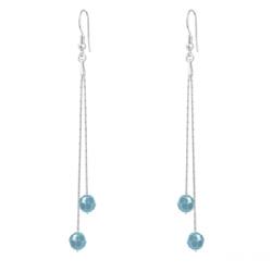 Boucles d'Oreilles en Cristal et Argent Boucles d'Oreilles Longues Cardano en Argent et Cristal Turquoise