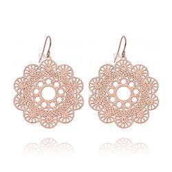 Boucles d'Oreilles Filigrane en Acier Inoxydable Rose L-04