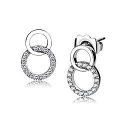 Boucles d'Oreilles 2 Cercles en Acier Inoxydable Cubic Zirconium