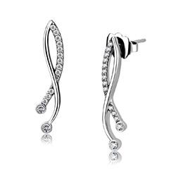 Boucles d'Oreilles Design en Acier Inoxydable et Cubic Zirconium