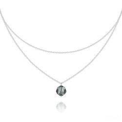 Collier Ras de Cou Deux Chaînes en Argent et Cristal Black Diamond