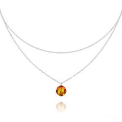 Collier Ras de Cou Deux Chaînes en Argent et Cristal Fire Opal
