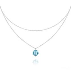 Collier Ras de Cou Deux Chaînes en Argent et Cristal Bleu Aigue-marine