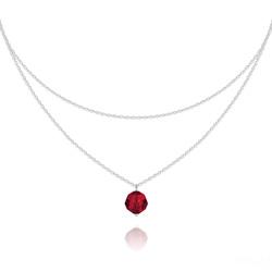 Collier Ras de Cou Deux Chaînes en Argent et Cristal Rouge Light Siam
