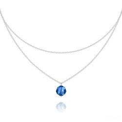 Collier Ras de Cou Deux Chaînes en Argent et Cristal Capri Blue