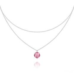 Collier Ras de Cou Deux Chaînes en Argent et Cristal Light Rose