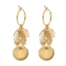 Boucles d'Oreilles Coquillage Doré et Perles Nacrées