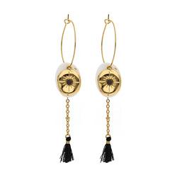 Boucles d'Oreilles dorées Nacre et Pompon Noir