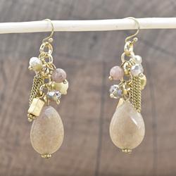 Boucles d'Oreilles Breloques Cristal et Pierres Grises