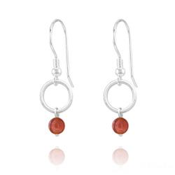 Boucles d'Oreilles Cercle en Argent et Pierres Naturelles 4mm - Agate Rouge