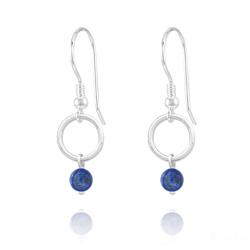 Boucles d'Oreilles Cercle en Argent et Pierres Naturelles 4mm - Lapis Lazuli
