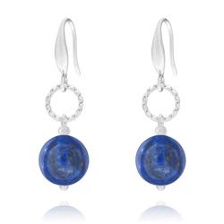 Boucles d'Oreilles Anneau Torsadé en Acier et Pierres Naturelles 10mm - Lapis Lazuli