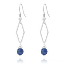 Boucles d'Oreilles Losange en Acier et Pierres Naturelles 6mm - Lapis Lazuli