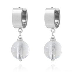 Boucles d'Oreilles Lucia en Acier et Pierres Naturelles 12mm - Cristal de Roche