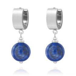 Boucles d'Oreilles Lucia en Acier et Pierres Naturelles 12mm - Lapis Lazuli