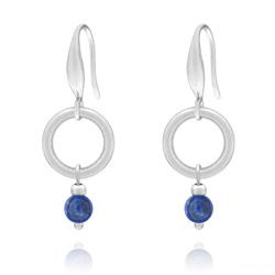 Boucles d'Oreilles Joana Cercle en Acier et Pierres Naturelles 4mm - Lapis Lazuli