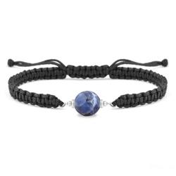 Bracelet Estela en Acier et Pierre Naturelle à Facettes 8MM - Sodalite
