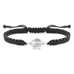 Bracelet Estela en Acier et Pierre Naturelle à Facettes 8MM - Cristal de Roche