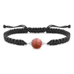 Bracelet Estela en Acier et Pierre Naturelle à Facettes 8MM - Jaspe Rouge