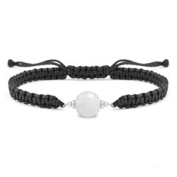 Bracelet Estela en Acier et Pierre Naturelle à Facettes 8MM - Jade Blanc