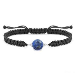 Bracelet Estela en Acier et Pierre Naturelle à Facettes 8MM - Lapis Lazuli