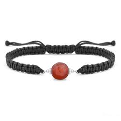 Bracelet Estela en Acier et Pierre Naturelle à Facettes 8MM - Agate Rouge