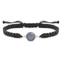 Bracelet Estela en Acier et Pierre Naturelle à Facettes 8MM - Labradorite