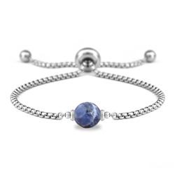 Bracelet Ofelia en Acier et Pierre Naturelle à Facettes 8MM - Sodalite