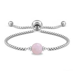 Bracelet Ofelia en Acier et Pierre Naturelle à Facettes 8MM - Quartz Rose