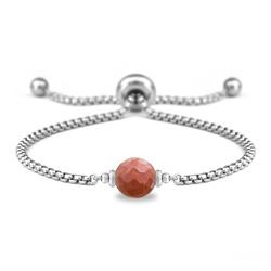 Bracelet Ofelia en Acier et Pierre Naturelle à Facettes 8MM - Jaspe Rouge