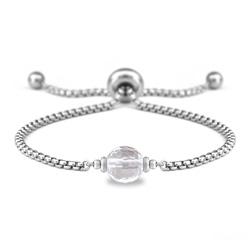 Bracelet Ofelia en Acier et Pierre Naturelle à Facettes 8MM - Cristal de Roche