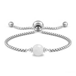 Bracelet Ofelia en Acier et Pierre Naturelle à Facettes 8MM - Jade Blanc