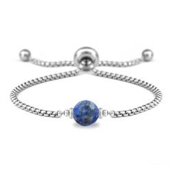 Bracelet Ofelia en Acier et Pierre Naturelle à Facettes 8MM - Lapis Lazuli