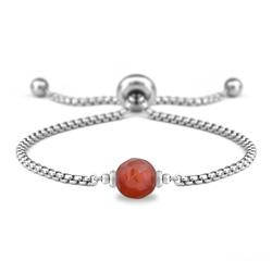 Bracelet Ofelia en Acier et Pierre Naturelle à Facettes 8MM - Agate Rouge