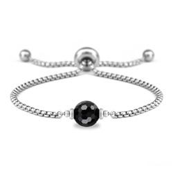 Bracelet Ofelia en Acier et Pierre Naturelle à Facettes 8MM - Onyx