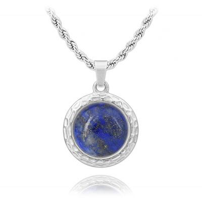 Collier en Pierre Naturelle Collier  Emma en Acier et Cabochon en Pierre Naturelle 16MM - Lapis Lazuli