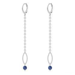 Boucles d'Oreilles Avelina en Acier et Pierres Naturelles 4mm - Lapis Lazuli