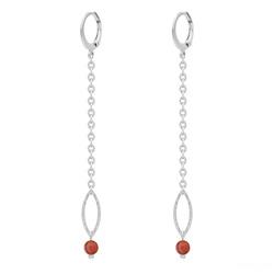 Boucles d'Oreilles Avelina en Acier et Pierres Naturelles 4mm - Agate Rouge
