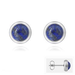 Clous d'Oreilles Diana en Acier et Pierres Naturelles 6mm - Lapis Lazuli
